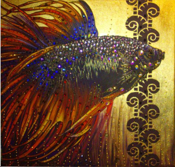 рыбка золото стразы