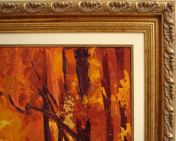 Картина маслом осень в летнем саду