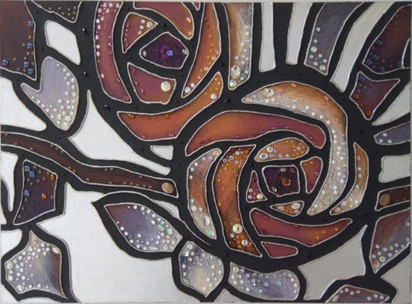 Декоративное панно изображены две розы