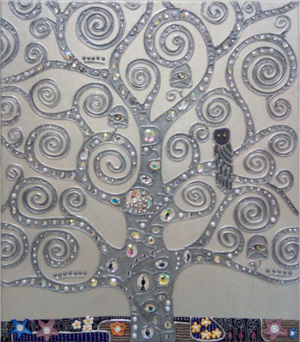Панно декоративное дерево жизни серебро