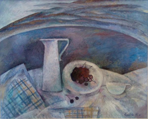Фрагмент картины изображен пикник на берегу озера