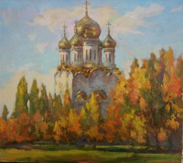 Картина храм осенью