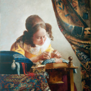 Девушка за вышиванием