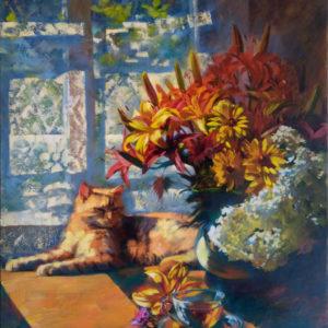 Живопись маслом окошко с цветами
