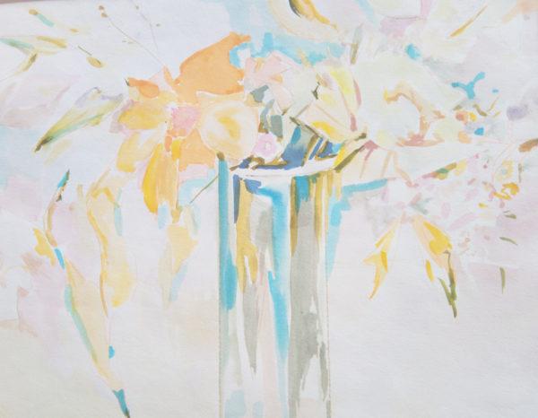 Фрагмент рисунка цветов акварелью