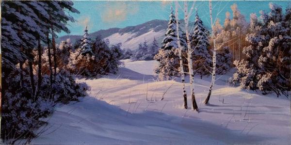 Картина изображена снежная зима