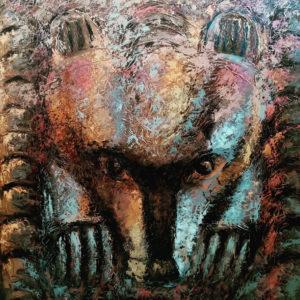 Картина медведь в коричневых тонах