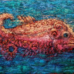 Живопись на холсте рыба декоративная