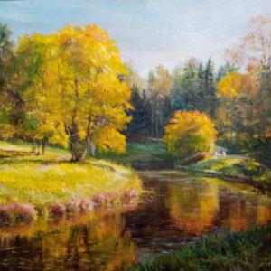 Картина маслом осенний парк
