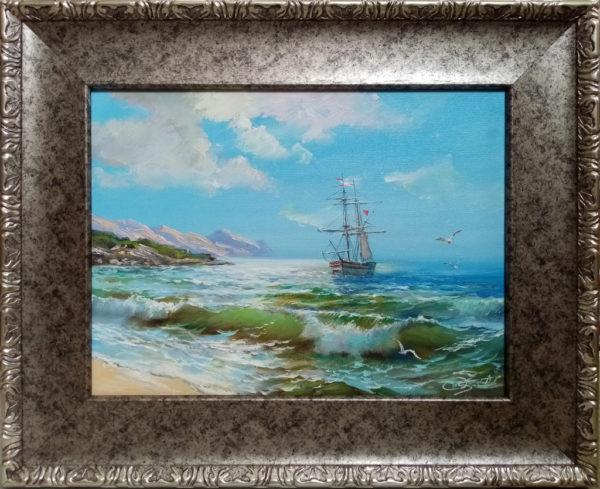 Картина прибой масляными красками на холсте
