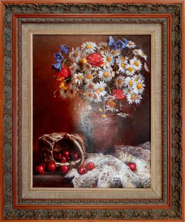 Картина масляными красками на холсте в раме