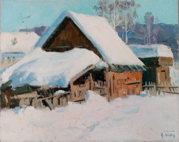 Снежная зима Картина масляными красками