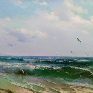 Морской берег картина масляными красками