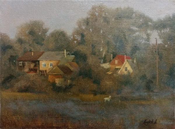 Картина масляными красками на холсте туманное утро